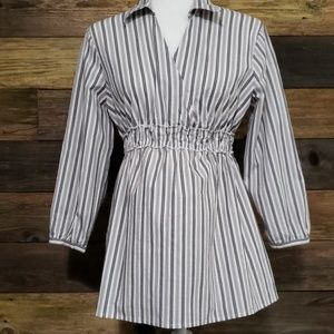 Motherhood Maternity Gray & Silver Striped Top